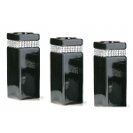 Set of 3 medium black diamante candle holders